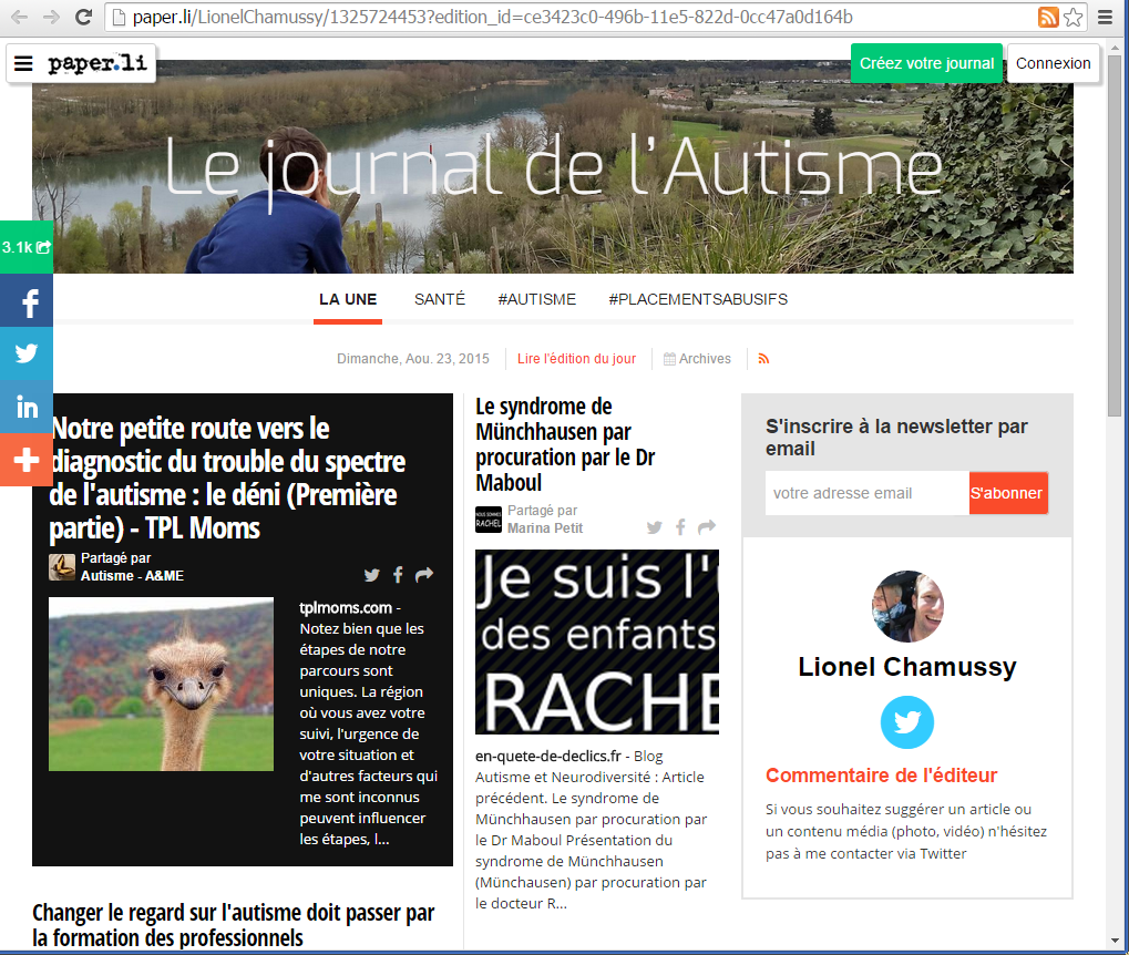 Le journal de l'Autisme
